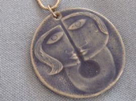 Modernist Ceramic Pendant with a touch of Picasso about it on Sterling Silver Chain (sold)